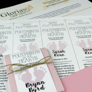 Do-It-Yourself Infant Child Memorial Footprints On Our Hearts Seed Packets