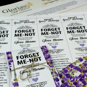 Do-It-Yourself Lavender and Purple Floral Memorial Forget-Me-Not Seed Packets