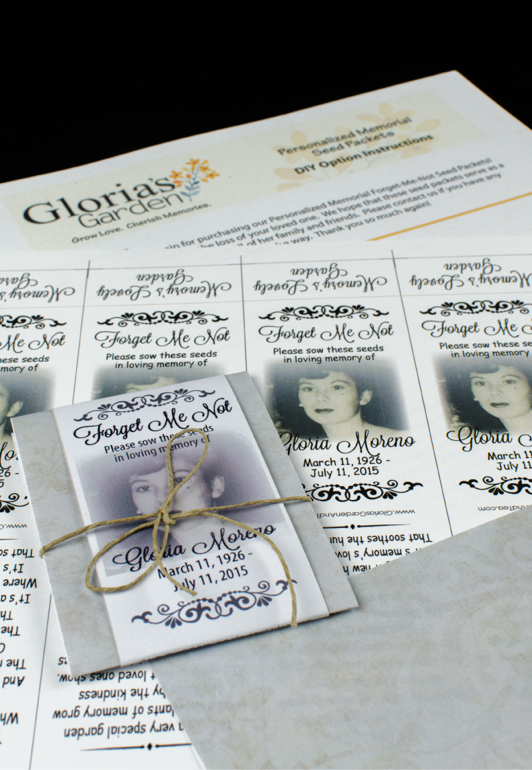 Do-It-Yourself Classic Memorial Forget Me Not Seed Packets with Photograph