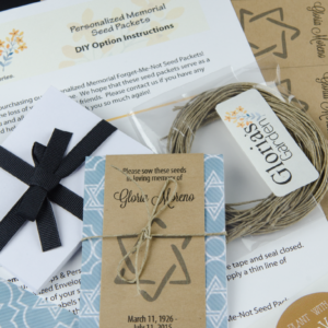 Do It Yourself Personalized Jewish Memorial Seed Packets with Star of David