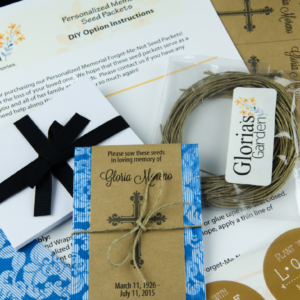 Personalized Religious Memorial Seed Packets with Decorative Cross