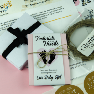 Do It Yourself Infant Child Memorial Tiny Footprints Seed Packets