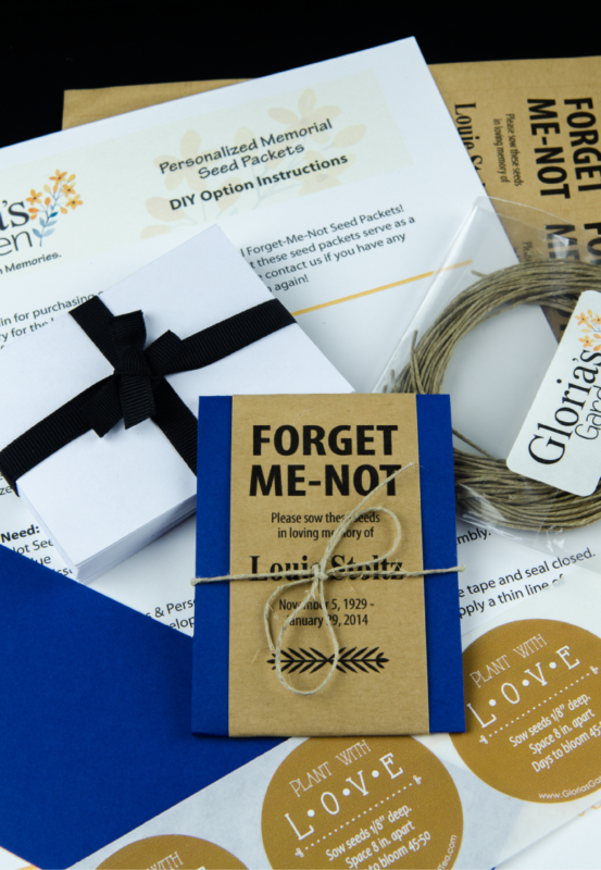 Do-It-Yourself Navy Blue Memorial Forget-Me-Not Seed Packets