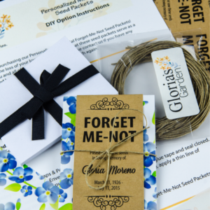 Do-It-Yourself Blue Floral Memorial Forget-Me-Not Seed Packets