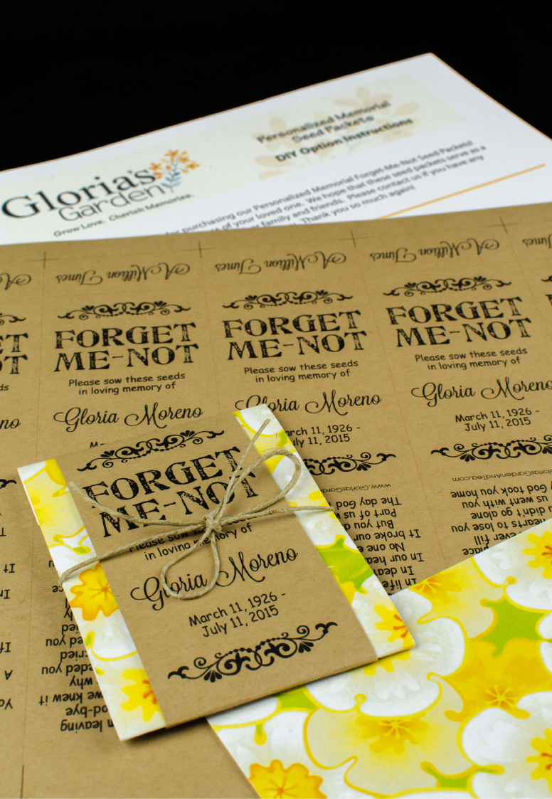 Do-It-Yourself Yellow Floral Forget Me Not Memorial Seed Packets