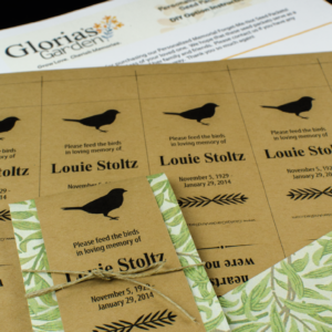 Do-It-Yourself Memorial Bird Seed Packets with Green Foliage Print Wraps