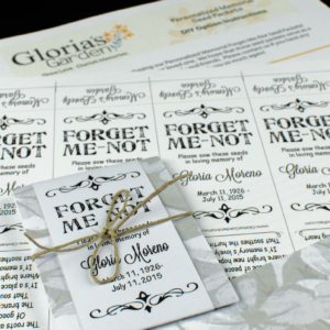 Do It Yourself Personalized Gray Floral Memorial Seed Packets