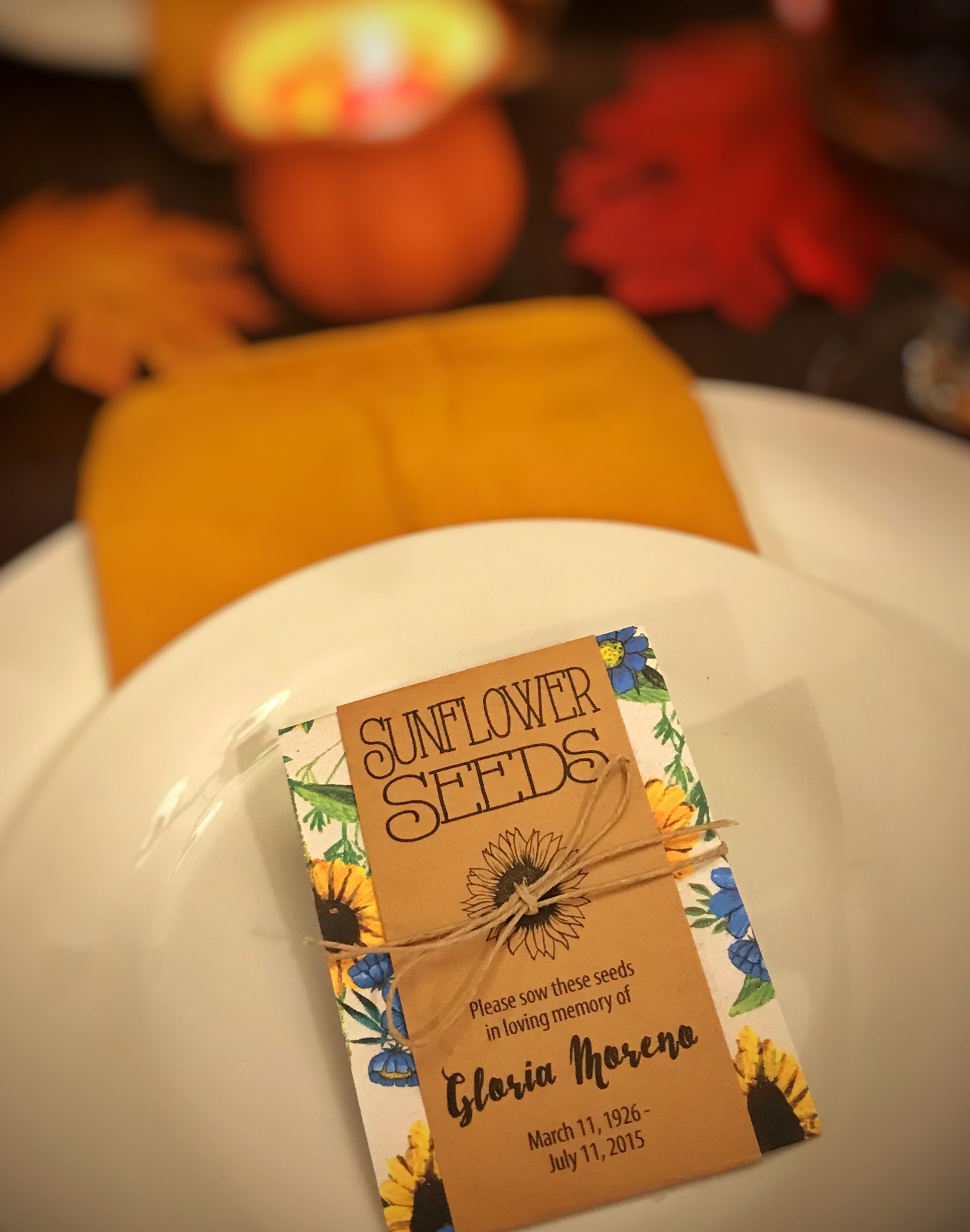 Memorial Sunflower Seed Packets by Gloria's Garden